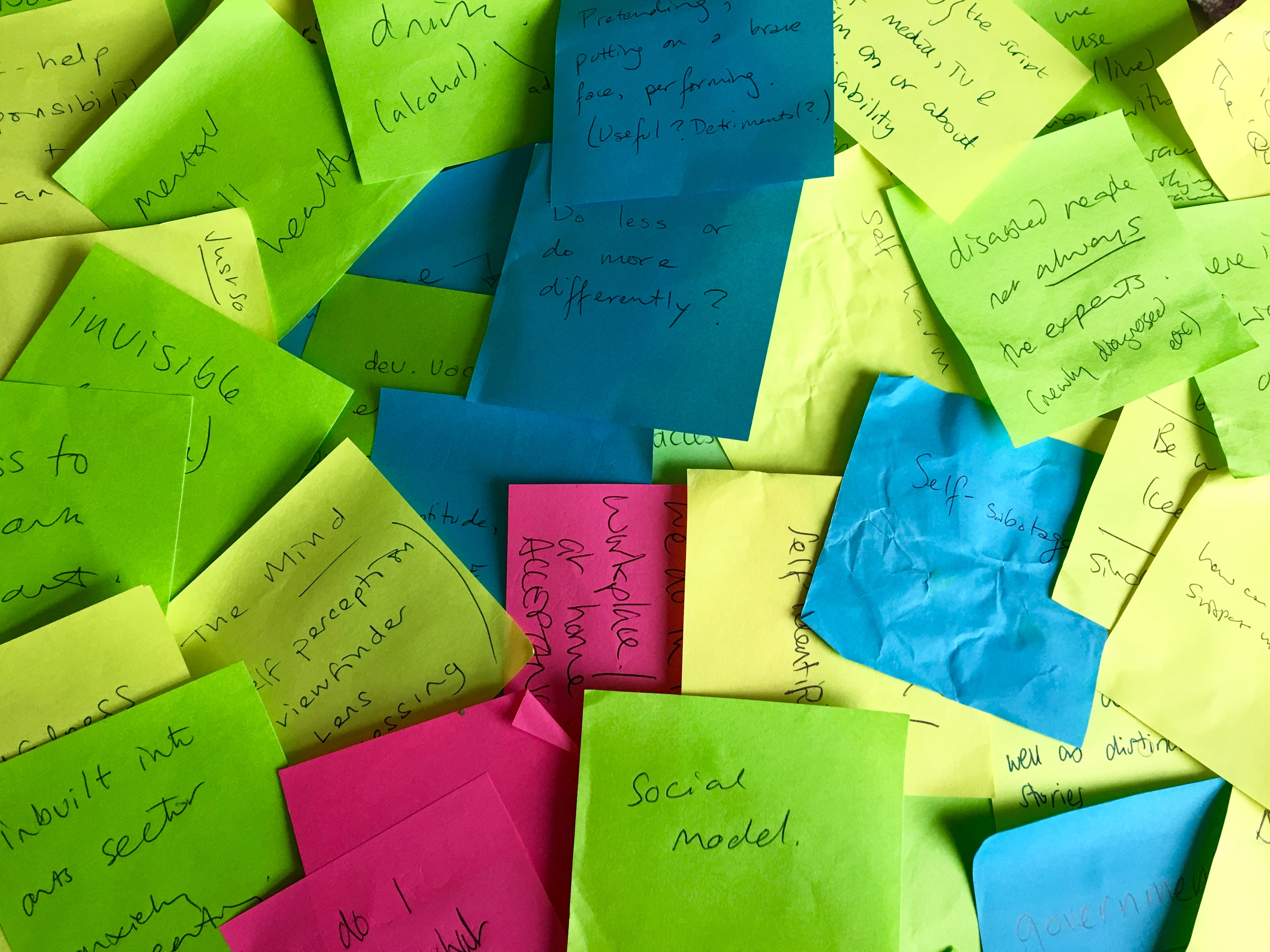 An image of lots of different coloured post-it notes which have hand written notes on them such as social model and do less or do differently?