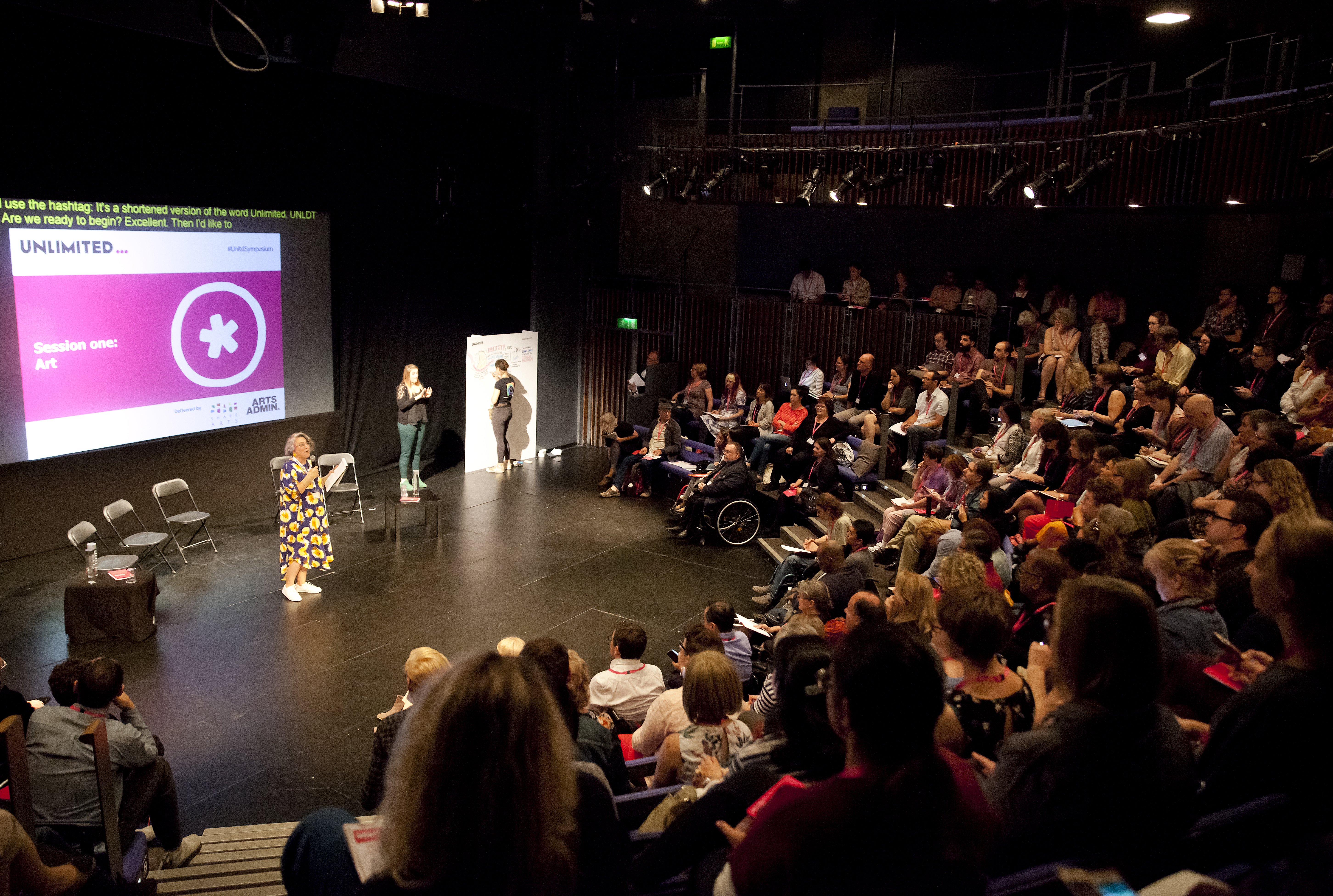 Wide shot of Jo standing in front of a powerpoint presentation, addressing an audience in a dark theatre space. She is a caucasian woman with grey hair and is wearing a bright flowery dress.