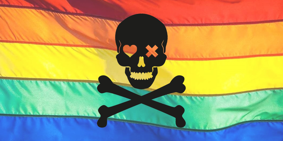 This is an image of a rainbow flag with a skull and cross bones on it