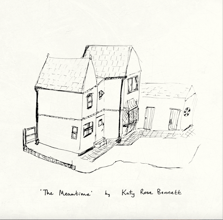 black and white pencil sketch of a house by artist katy rose bennet