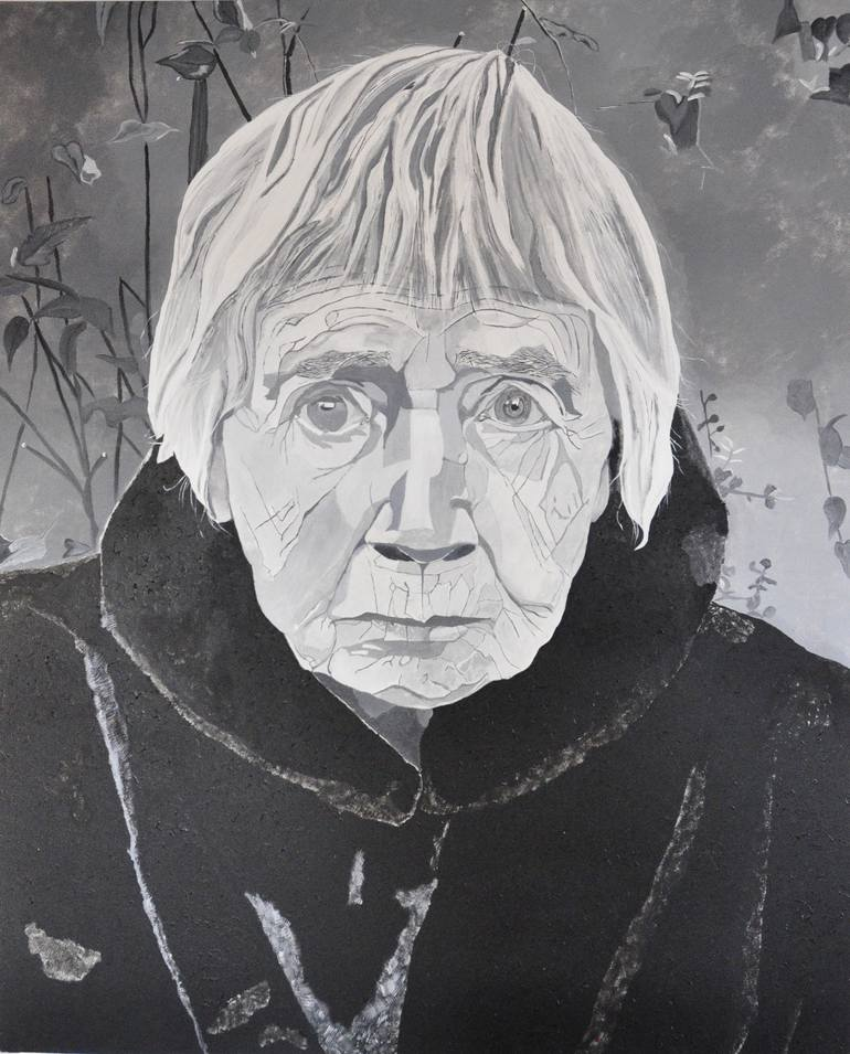 A monochrome painting of a woman withe white hair.