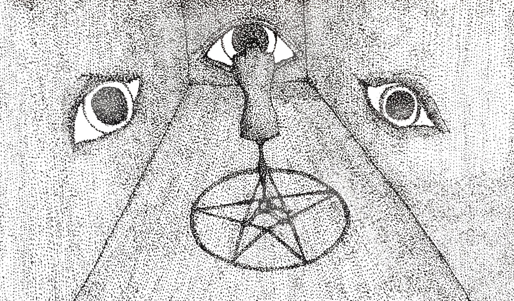 a sketch of a small room with three walls, there are eyes on each wall facing the middle of the room. in the centre there is a person standing in the middle of a pentagram