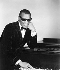Black and white image of Ray Charles