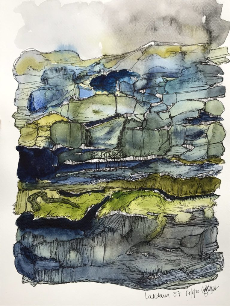 An abstract drawing with watercolour washes in shades of grey, dark. blue, and green.
