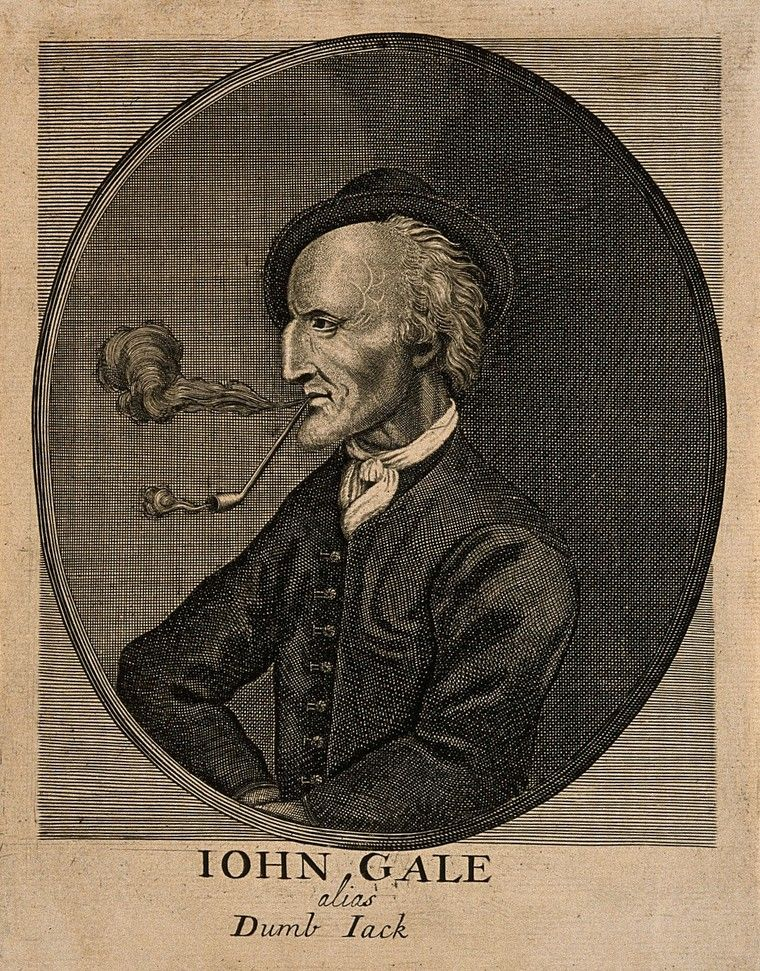 Old portrait of a man smoking a pipe. His name, John Gale, is written underneath. The image is in black and white.