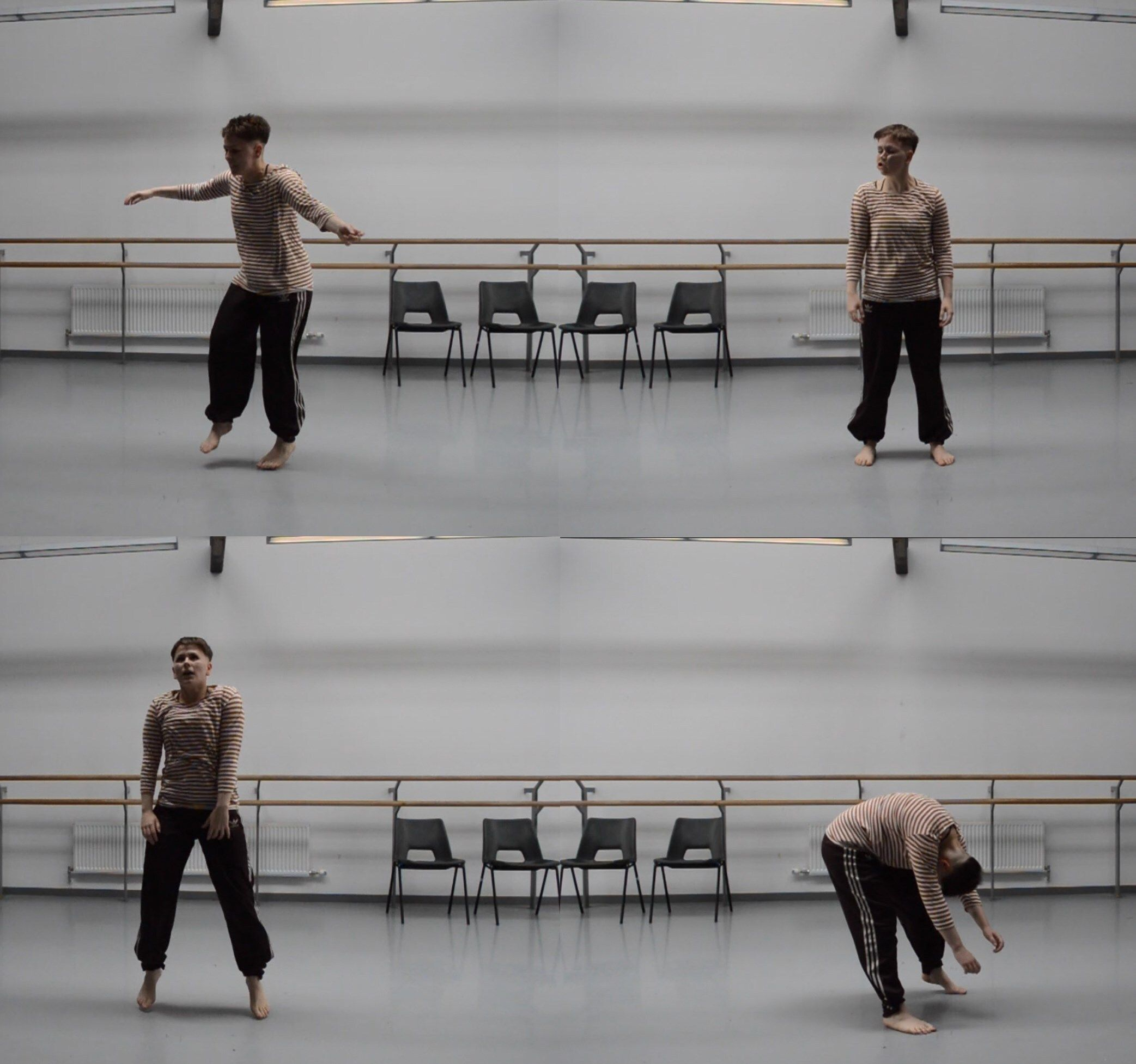 Two landscape photographs in a collage. Both show a dance studio in which the same two people are moving. In the top photograph, one person has their arms outstretched while the other stands still. In the bottom, they reverse, so the opposite person is now dynamic and folder over while the other remains standing.