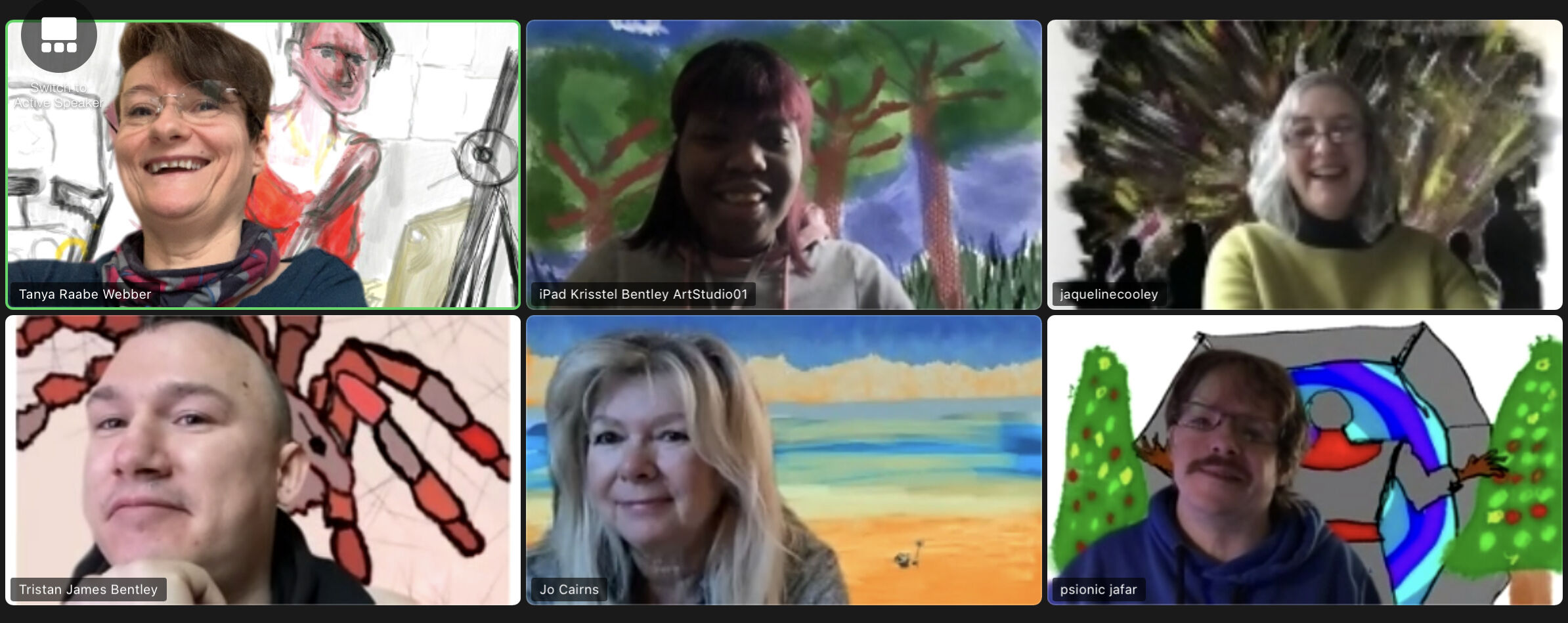 A screenshot of six people meeting on Zoom. Each has a creative and colourful virtual backdrop behind them.