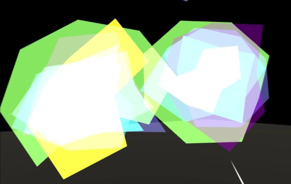 Two overlapping shapes, made up of green, yellow, blur and purple converging to make white