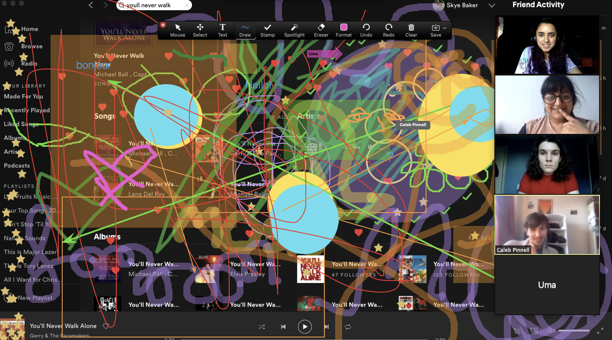 A screenshot of a zoom session in which participants are using computer paint tools to create bright shapes and lines all across the display, creating a bright and vivid overlay on the familiar Zoom landscape!