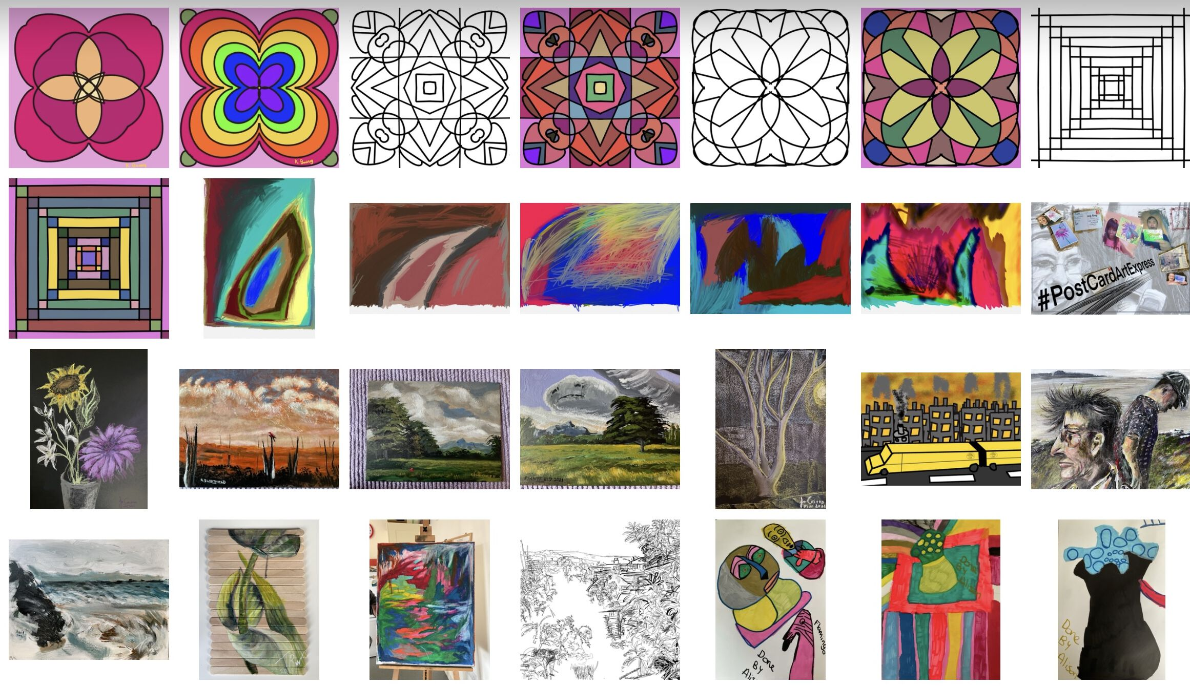 A screenshot of a shared album online which contains images of the artists' work and inspiration.