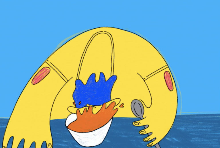 Screenshot of an animation showing a large yellow figure sat at a dining table with their face submerged in what appears to be a bowl of tomato soup. They are holding a spoon in one hand and have electric blue hair. The background of the image is sky blue.