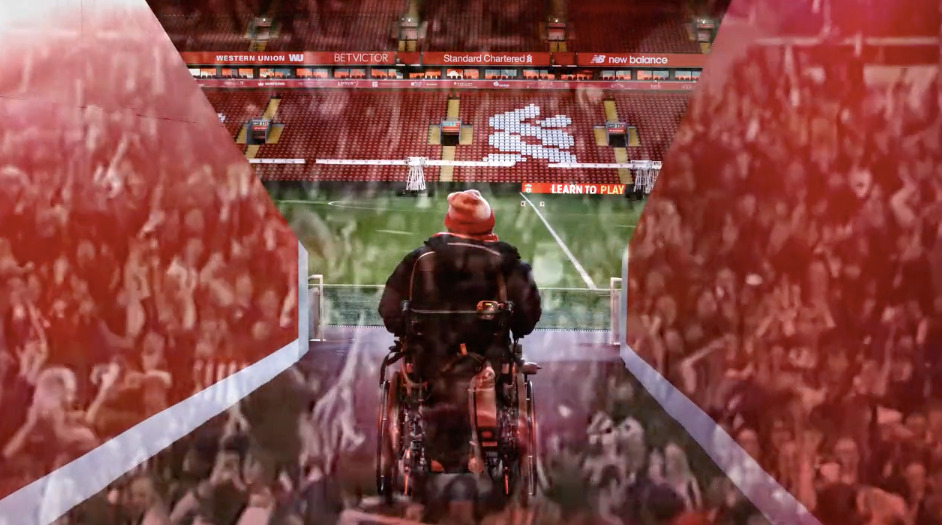 A man in an wheelchair is at the entrance of a football pitch. Overlayed with it is a picture of the hands of a crowd reaching out.