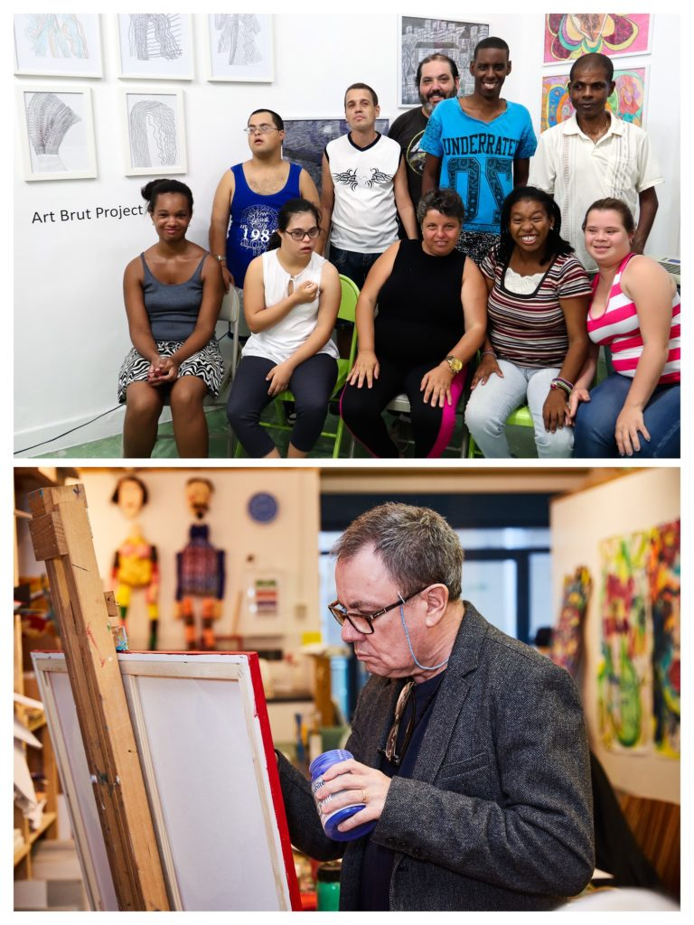 A collage of two images: Top: A group of people of different heritages and skin tones sit together in a gallery space, facing the camera smiling. Bottom: A white man with glasses holds a jar of blue paint, looking intently at a canvas painted red.