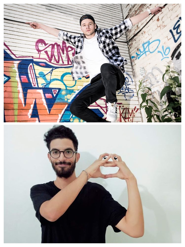 A collage of two images: Top: A white man in a white t-shirt, black jeans, and a black snapback cap worn backwards is jumping mid-air, set against the corner of building which is graffiti'd in many bright colours. Bottom: A man of Middle East and North African heritage with dark short hair and a dark beard is wearing a black t-shirt, standing against a white wall, his fingers are raised forming a heartshape.