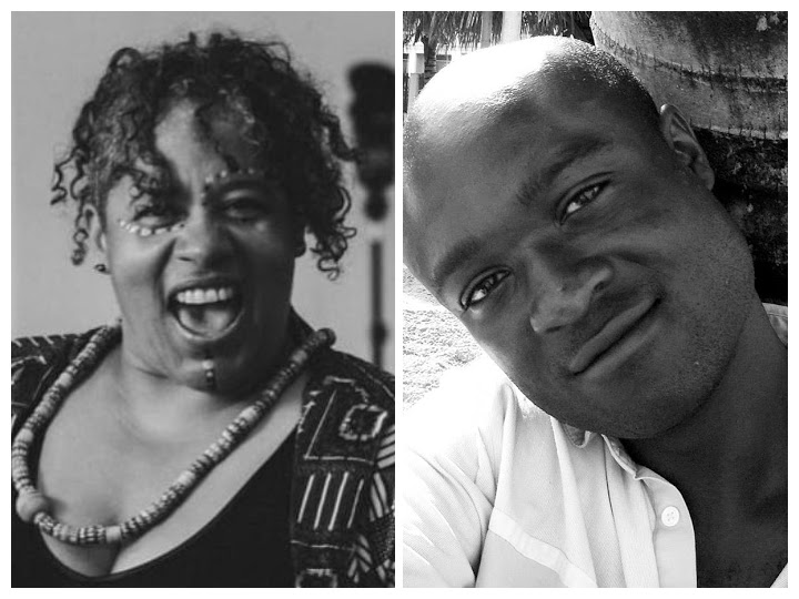 A collage of two images: Left: A black and white image of a black person looking into the camera. Their mouth is opened, they are joyful. They are wearing a big necklace around their neck. Right: A black and white photo of a black man looking into the camera softly, a slight smile on his lips.