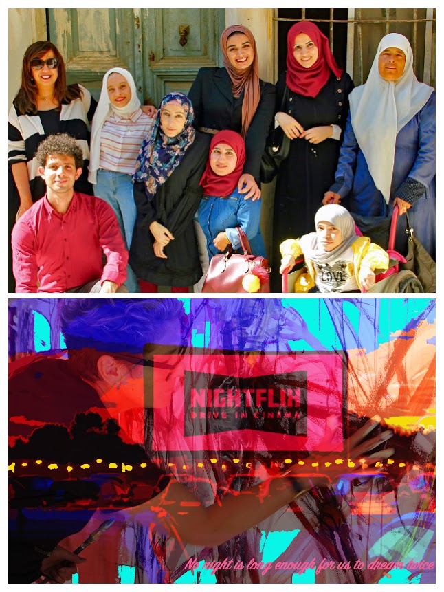A collage of two images: Top: a group photo with different people of Middle East and North African heritage, some of whom are wearing hijabs. The sun is shining and everyone is looking into the camera. Bottom: Two images overlaid together. The top image is of a white woman painting on a canvas, the bottom image is an abstract multicoloured landscape.