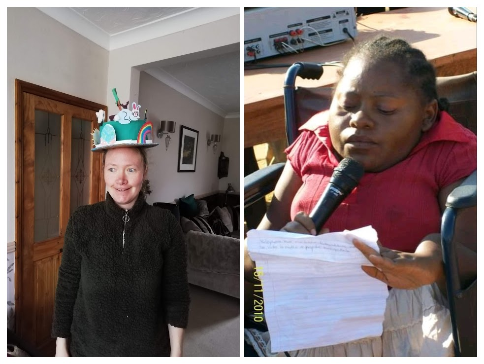 A collage of two images: Left: A white woman is standing in a room, wearing a black fleece jumper. On her head there is a sculpture hat that has a blue central piece with a rabbit, a rainbow, and a carrot stuck on top. Right: A black woman in a wheelchair is holding a microphone and a sheet of paper. She is looking down at the paper, reading it, the sun is shining on her face.