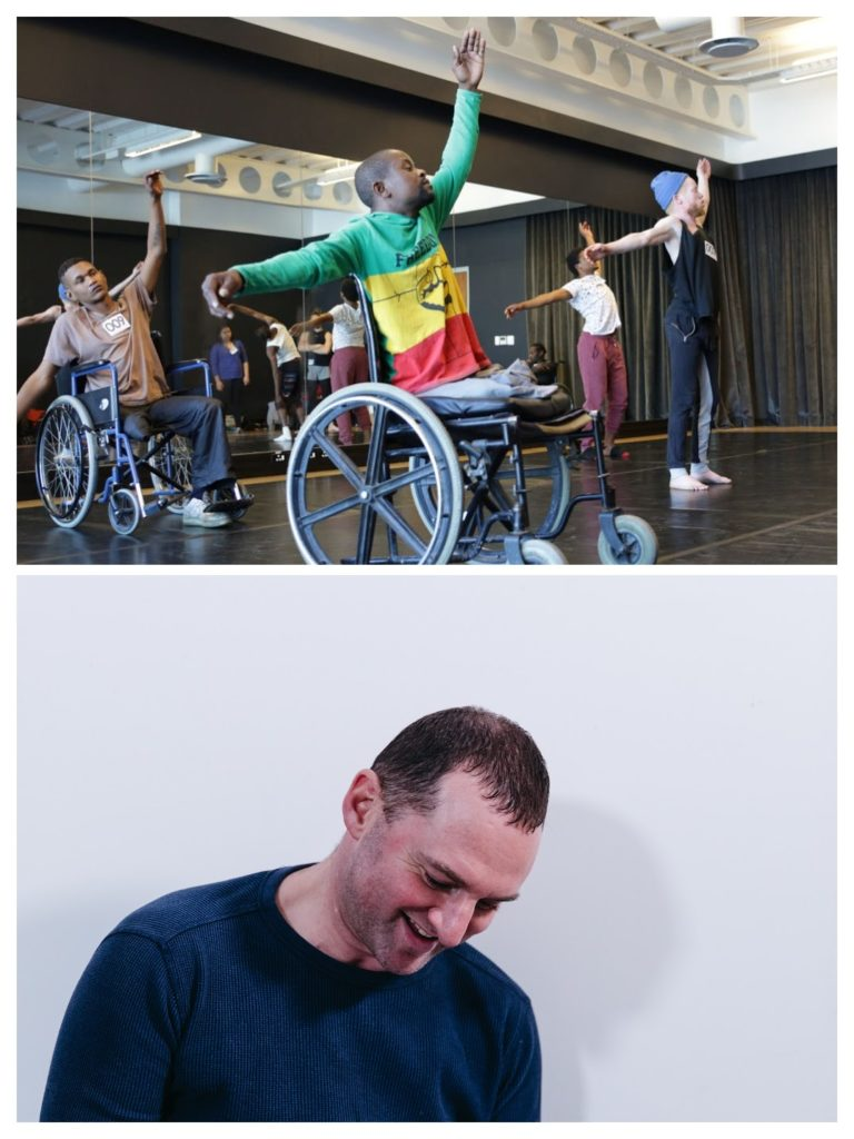 A collage of two images: A group of black people, one of whom has albinism and two of whom are in wheelchairs, are in a dance studio. They are raising their left arms up and their right arms to the side, mid-choreography. Bottom: A white man sits on the floor, against a white wall. He is holding a notebook and writing in it with a black pen, while smiling.