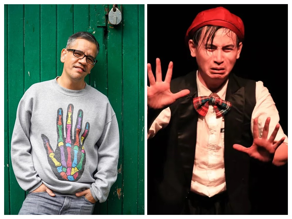 A collage of two images: Left: A Chinese man wearing glasses and a light grey seater with a multicoloured skeleton hand on it leans against a dark green wooden wall, looking into the camera. Right: A Chinese man is performing wearing a red hat, a red bowtie, a white shirt and a black vest. They are lit in red, their arms are out in front of them, their fingers spread. Their face is grimacing.